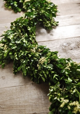Preserved Boxwood and Statice Garland 45in