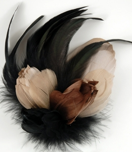 Brown, Champagne Beige and Black Feather Flower Fascinator