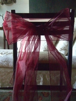 Burgundy Organza Chair Bows (Pack of 10)