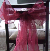 Burgundy Organza Chair Sashes (Pack of 10)