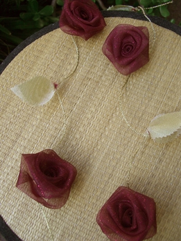 Burgundy Rolled Roses 9' Ribbon Garland