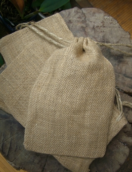 Natural Burlap Favor Bags with Drawstring 5.75in x 9.75in (Pack of 12)