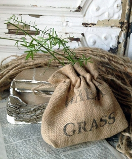 Burlap Bags Wheat Grass Stamp Drawsting 6 in.