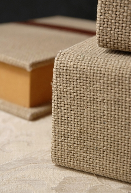 Burlap Book Boxes (Set of Three)