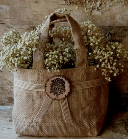 Burlap Flower Girl Basket with Wood Tree Medallion