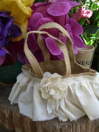 Burlap Flower Girl Basket with Cotton Ruffle & Rose