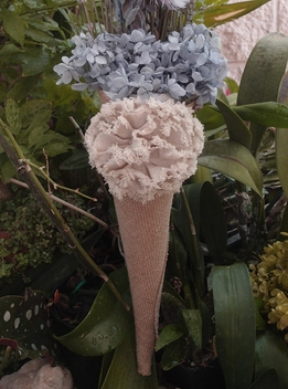 "Burlap Flower Petal Cones 13"" with Tattered Rose"