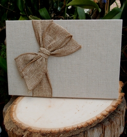 Linen Guestbook With Burlap Bow (20 Pages)
