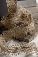 "Burlap Ribbon 1.5"" width Unfinished Edge 10 yards"