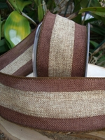 "Burlap Ribbon 3"" width 10 yards Brown & Natural wired"