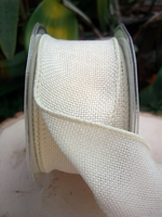 "Burlap Ribbon Ivory Fine Wired Ribbon 2"" width 10 yards"
