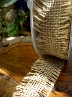 Natural Burlap Ribbon Open Weave 1.5in | 10yd