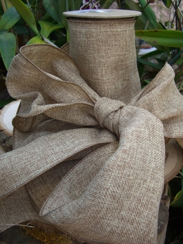 Natural Burlap Ribbon Wired 6in | 10yds