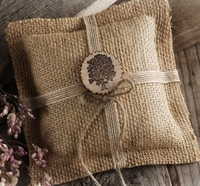 Burlap Ring Bearer Pillow with Tree Medallion