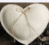 Burlap Ring Pillow Handmade Heart White