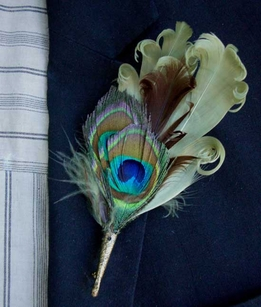 Button Holes Boutonni�re Curly Sage & Peacock Feathers