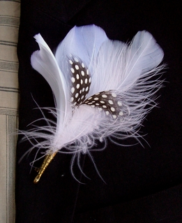 Buttonholes Boutonniere Black & White Quail Feathers