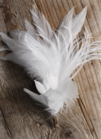 "Buttonholes Boutonnire 6.5"" White Feathers"