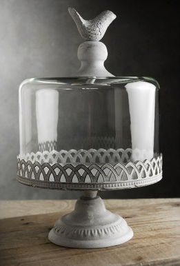 Cake Stands Pedestal Bird Top 10.5x8 w/ Glass Dome Cover