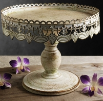 "Cake Stands White Metal 10"" Pedestal"