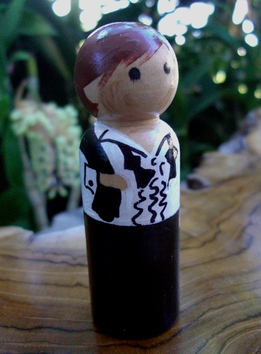 Cake Toppers Groom Brown/ Red Hair & Black Tux