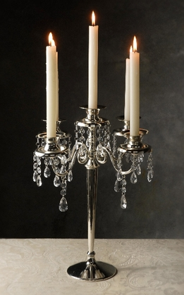 Silver Plated Candelabra With Crystals (5 Candleholders)