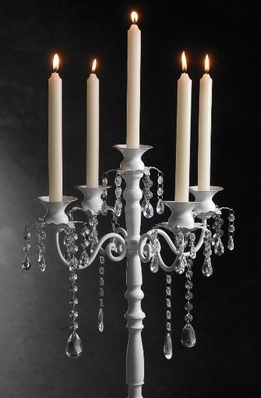 Crystal Candelabra on White Pedestal 32in