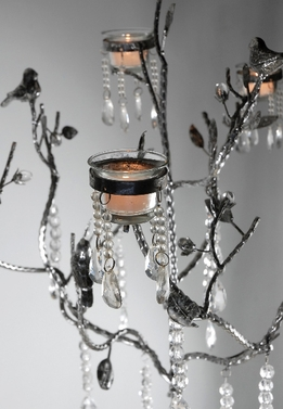 Candle Tree with Crystals & Birds