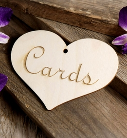 "Wood Heart ""Cards"" Sign 5in"