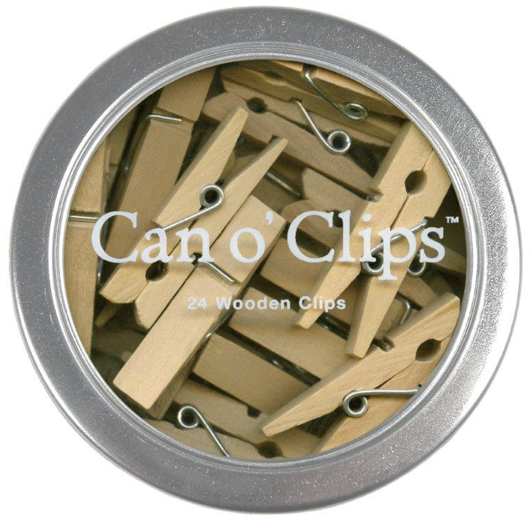 "Cavallini & Co Can O' Clips Wood Clothespins 1.5"" size (24 clothespins)"