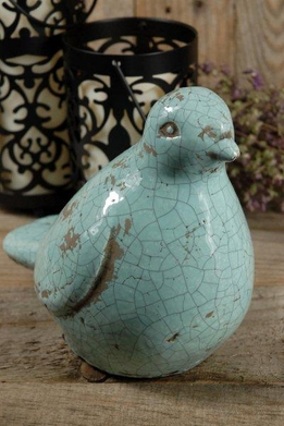 "Ceramic Light Blue Bird 7"" Crackled Glaze"