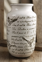 French Song Bird Crackle Glaze Vase