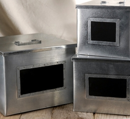 Metal Boxes with Chalkboards | Set of 3