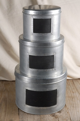 Chalkboard Metal Round Boxes (set of three)