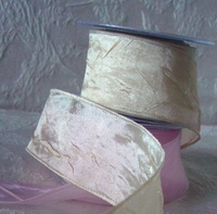 Champagne Crepe Satin Ribbon 2 in. Width 27 feet Wired