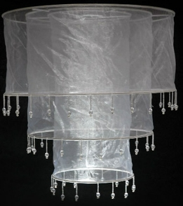 Chandelier Lanterns White Silk with Crystals