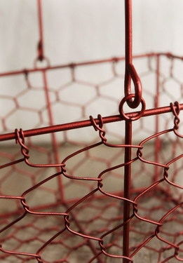 Wire Basket Red 8.5in