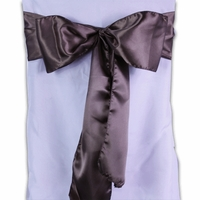 Chocolate Brown Satin Chair Sashes (Pack of 10)