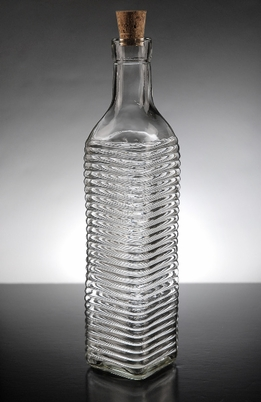 Ridged Glass Bottle w/Cork Top 16.9 oz