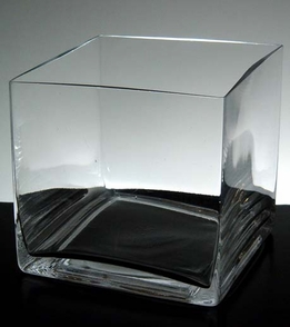 Clear Glass Square Vase 6in