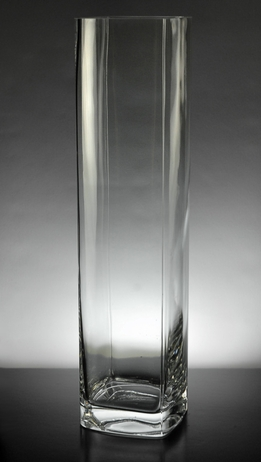 Rectangular Prism Glass Vase 16 in.