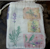 "Cotton Muslin Favor Bags 7"" Lavender Design (12 bags)"