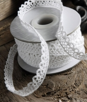Cotton Ribbon White Lace 7/16 10 yards