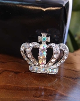 "Crown Pin Jewelry 1.5"" Crystal Iridescent Silver Crown"