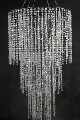 Crystal Chandelier 4-Tier Plug In 77in