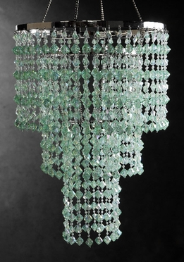 "Crystal Chandeliers Mint Green 3 Tier (16"" long)"