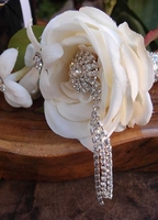 Dangling Crystal Bouquet Pin
