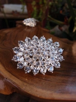 "Crystal Diamond Pin 2"" Brooch"