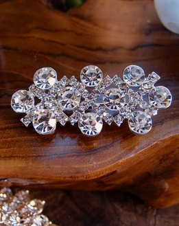 "Crystal Diamond Pin Brooch 2"" long"