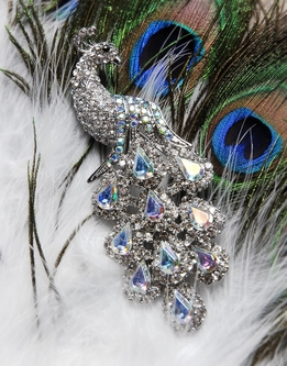 "Crystal Peacock 4"" Pin Brooch"